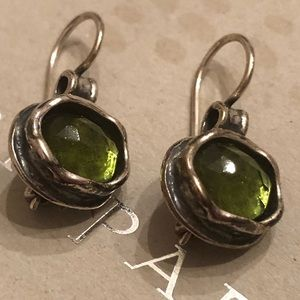 Silpada Sterling Silver and Green Glass Earrings